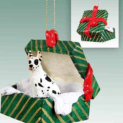 Conversation Concepts Great Dane Harlequin Gift Box Green Ornament