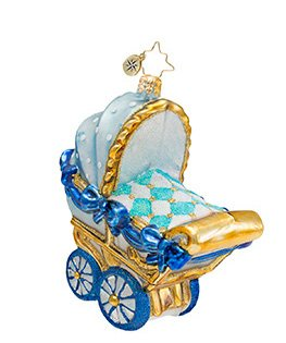 Christopher Radko Glass Blue Bouncing Baby Buggy Christmas Ornament #1016974