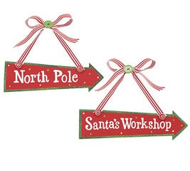 Arrow Sign Christmas Ornaments with Messages- North Pole & Santa's Workshop Set of 2