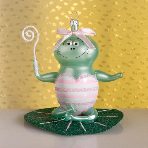 De Carlini Gigi the Frog Italian Mouthblown Glass Christmas Ornament