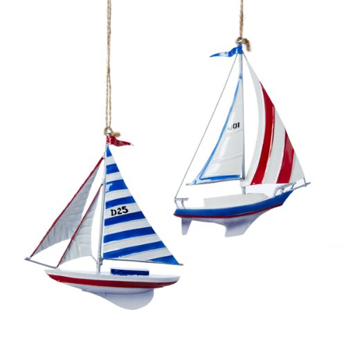 5.25″ Tin Sailboat Ornament Set