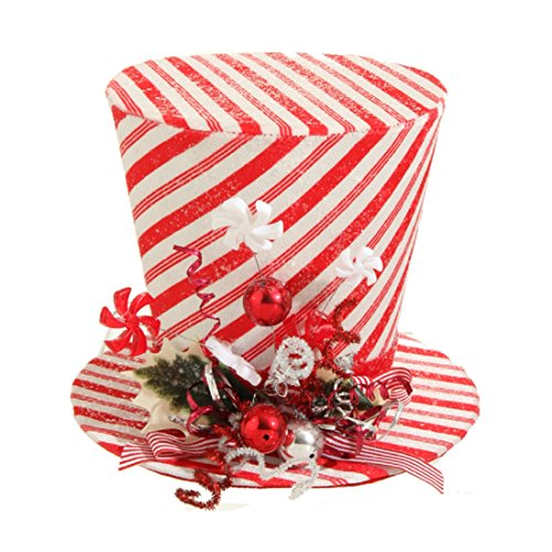 9″ Peppermint Top Hat Christmas Decoration
