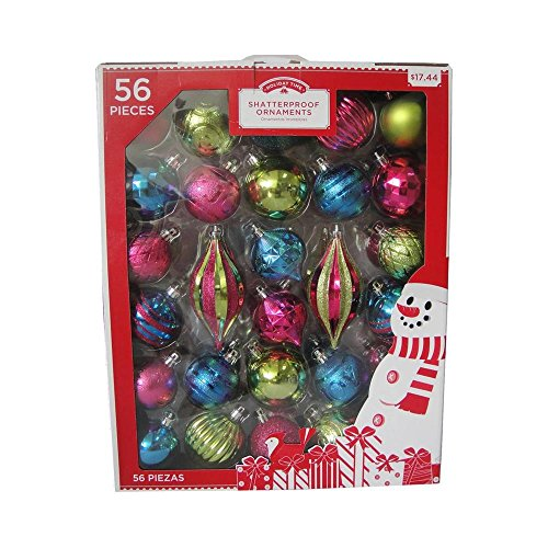 Holiday Time 56 Piece Fuchsia/Teal/Green Shatterproof Christmas Orname