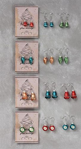 Super Mini Glass Christmas Ornament Hanging Earring Set of 12 Vintage Style