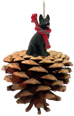 Black German Shepherd Real Pinecone Dog Christmas Ornament by Conversation Concepts