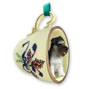 Schnauzer Green Holiday Tea Cup Dog Ornament – Gray by Conversation Concepts