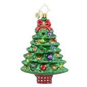 Christopher Radko Sprightly Spruce Glass Christmas Tree Ornament – 4.5″h.