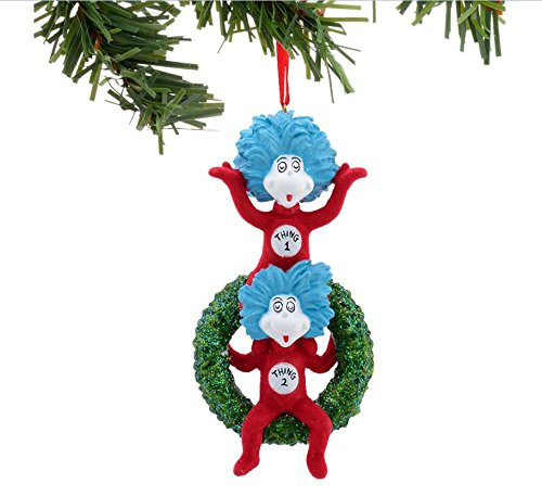"Department 56 Dr. Seuss The Cat in the Hat ""Thing 1 & Thing 2 on Wreath"" Christmas Ornament #4037426"
