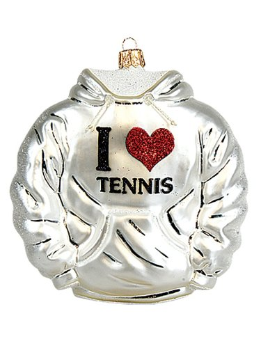 I Love Tennis Hoody Polish Blown Glass Christmas Ornament Tree Decoration
