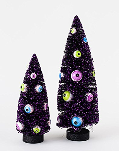 Halloween Spooky Black Bottle Brush Sisal Tree with Eyeball Ornaments Set of 2