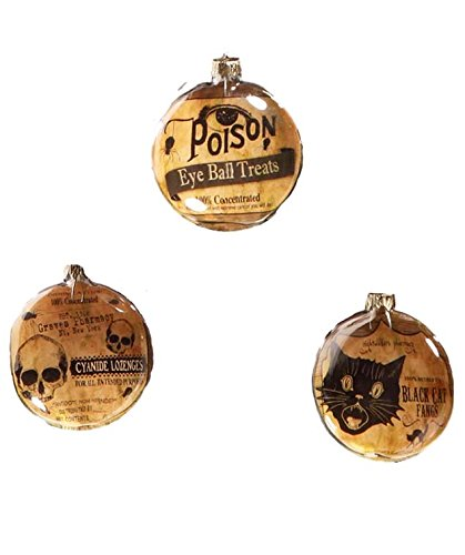 Bethany Lowe Potions and Poisons Glass Disc Hanging Ornaments