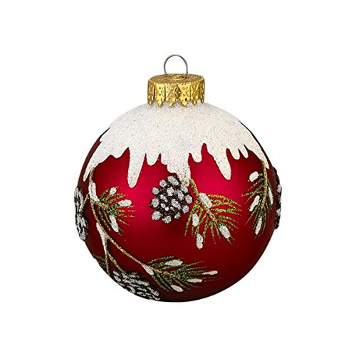 Kurt Adler 3-Piece Red Balls with Pinecone Design Ornament Set, 80mm
