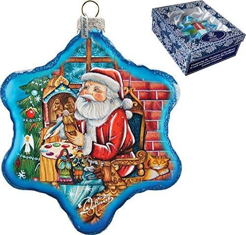 G. Debrekht Nativity Workshop Snowflake Glass Ornament