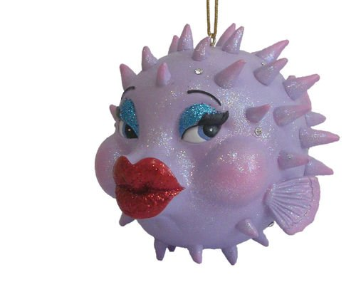 December Diamonds Babs the Blowfish- Embellished with Clear Rhinestones-Approximately 5 inches Tall & 5 inches wide- Solid Resin is Handpainted. She is a Hit at any Christmas Party!