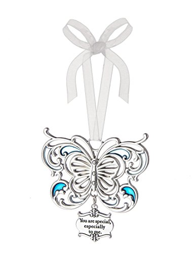 Ganz 3″ Beautiful Zinc Butterfly Ornament with Heartfelt Message Featuring White Organza Ribbon for Hanging (You are Special)