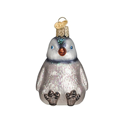 Old World Christmas Sitting Penguin Chicks Glass Blown Ornament