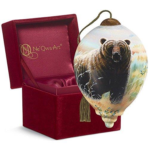 "Ne'Qwa Art, Housewarming Gifts, ""Alaska Grizzly"" Artist Cynthie Fisher, Petite Princess-Shaped Glass Ornament, #7169901"