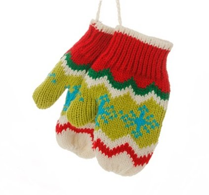 5″ Merry & Bright Green, White and Red Knit Pair of Mittens Christmas Ornament