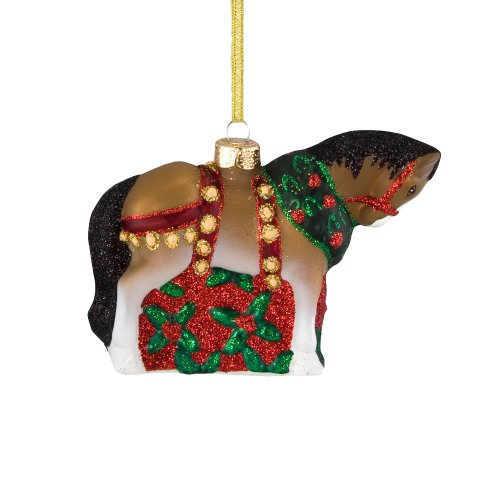 Trail of Painted Ponies from Enesco Christmas Clydesdale Glass Christmas 3 IN