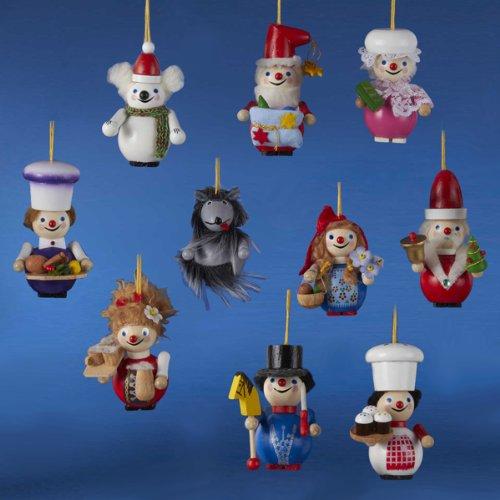 Set of 10 Authentic Steinbach Miniature Christmas Nutcracker Ornaments #ES1062