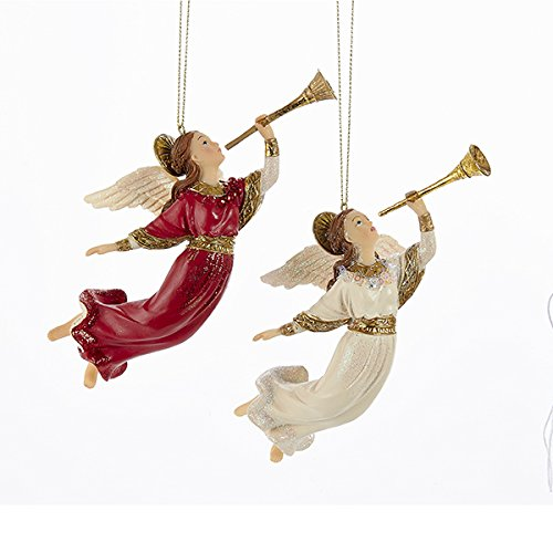Kurt Adler 2 Assorted Religious Angels With Trumpets Christmas Ornament