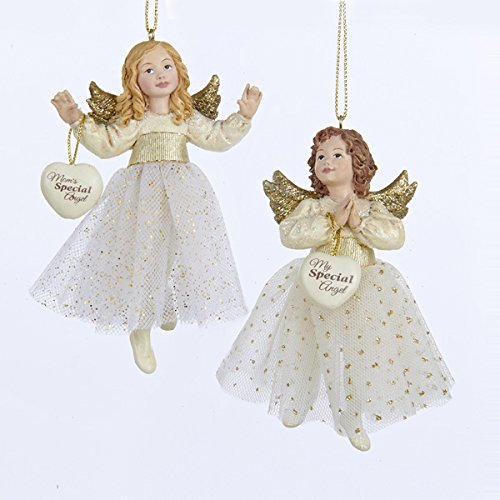 Kurt Adler 4.25″ Resin Ivory & Gold Little Angel Ornament 2/asstd