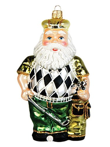 Golfing Santa Claus Polish Mouth Blown Glass Christmas Ornament Golf Decoration