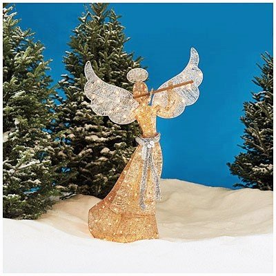 Christmas 5′ Champagne Gold Glittering Lighted Angel Silver Flute Indoor Outdoor Sculpture Holiday Decoration