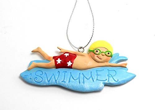 Midwest CBK Seasons #1 Swimmer Boy or Girl Wafer Christmas Ornament (blu, small)