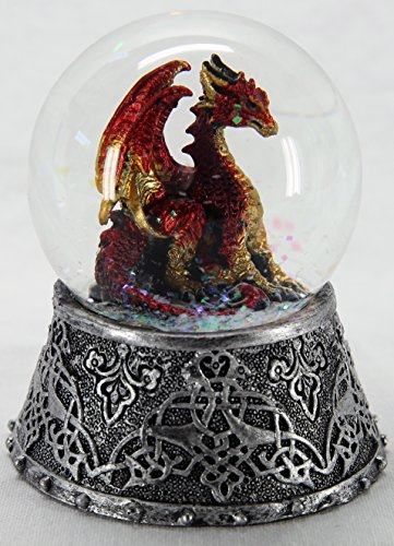 Dragon Figurine and Statue Snow Globe Red 3 1/4″ Tall