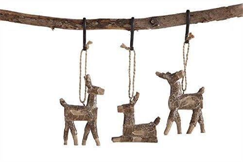 Deer Birch Branch Hanging Tree Ornament – Set of 3
