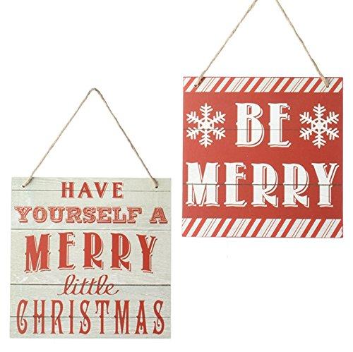 RAZ Merry Sign Ornaments 8″ – Pair of 2 Merry Christmas Signs Raz Imports