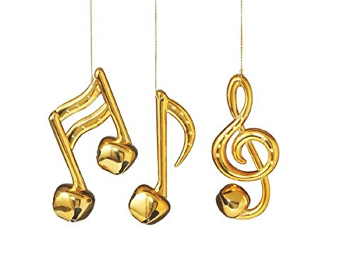 Shiny Gold Musical Note Bell Ornaments Set of 3 Notes Music