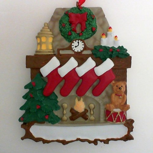 Fireplace with Stockings Family of 4 Ornament