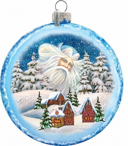 G. Debrekht Guardian Santa Village Glass Ornament, 5.5″