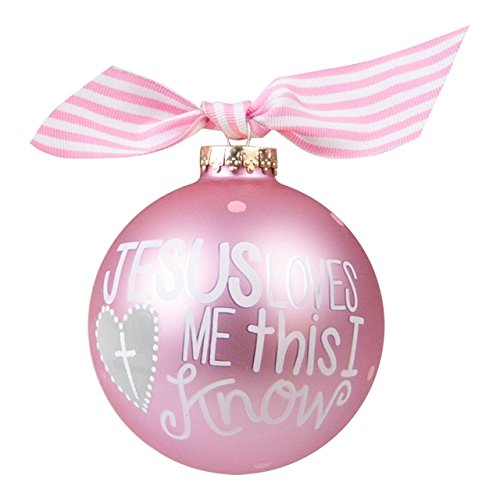 Coton Colors Jesus Loves Me Girl Glass Ornament