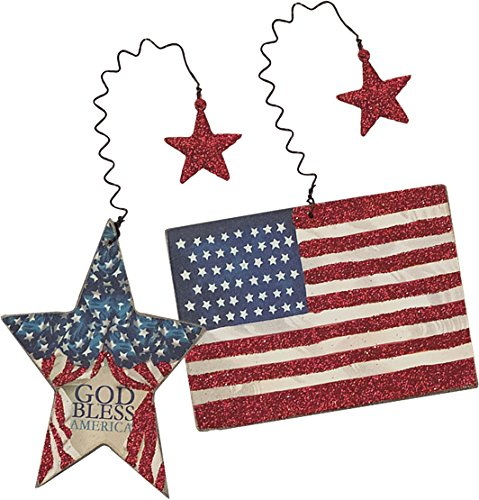Primitives By Kathy Wood Hand Painted Ornaments – Patriotic Flag & Star 2/set