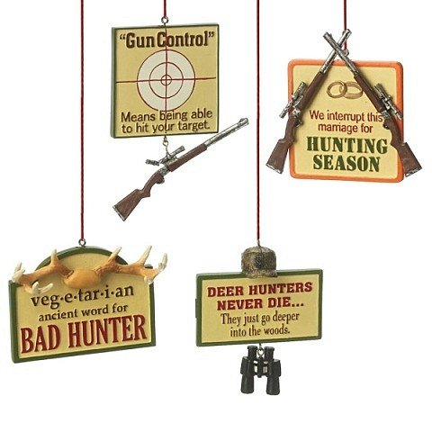 Midwest Funny Signs Hunting Christmas Ornaments Set of 4