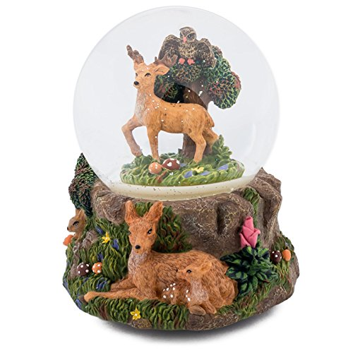 Deer and Woodland Creatures 100MM Music Water Globe Plays Tune Free As The Wind