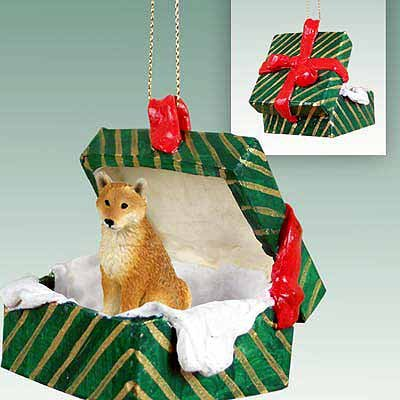 Conversation Concepts Shiba Inu Gift Box Green Ornament