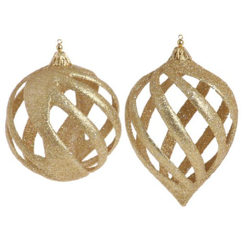 RAZ Imports – Gold Spiral Lattice Ornaments