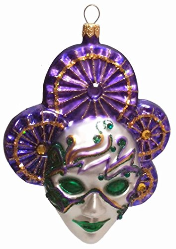 Green and Purple Venetian Mask Polish Blown Glass Christmas Ornament Decoration