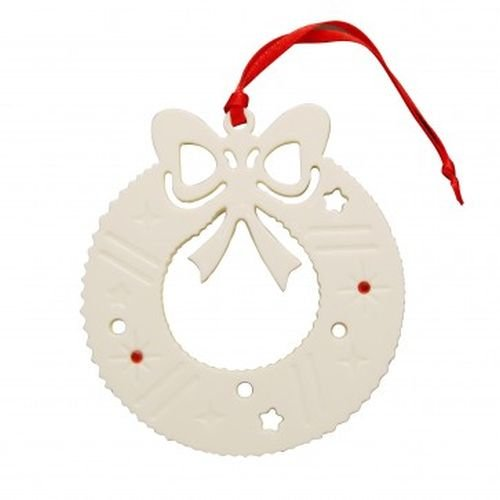 Belleek Pottery Christmas Wreath Ornament