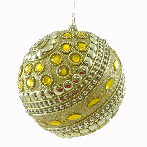 Holiday Ornament BEADED SWIRL BALL GOLD Christmas Jim Marvin CD7661A0351