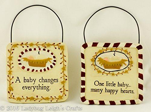 Nativity Manger Baby Jesus Christmas Ornaments – Lot of 2 – Blossom Bucket Resin Figurine