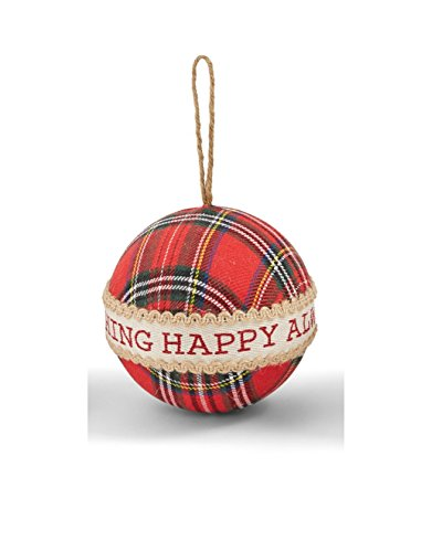 Mud Pie Deck The Halls Holiday Christmas Fabric Tartan Ornament (Merry)