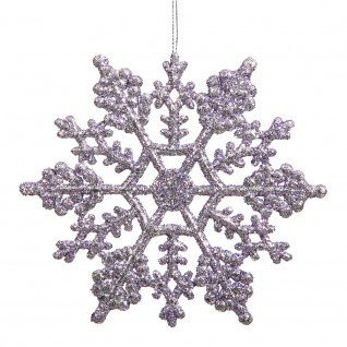 Vickerman 625″ Lavender Glitter Snowflake Christmas Ornaments, 12 per Box