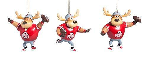 Ohio State University Football Player Christmas Ornaments Set of 3