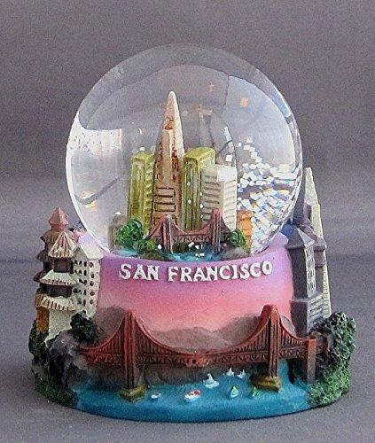 San Francisco Golden Gate Bridge City Skyline 3×3″ Snow Water Globe