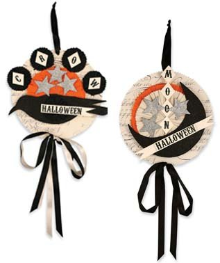 Bethany Lowe Halloween Crow and Moon Hanging Ornaments (Set/2)